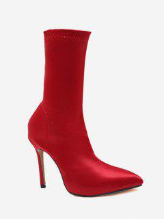 Pointed Toe High Heel Sock Boots - Chestnut Red Eu 37