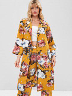 ZAFUL Estampado Floral De Solapa Ribetes Cardigan - Amarillo Brillante S