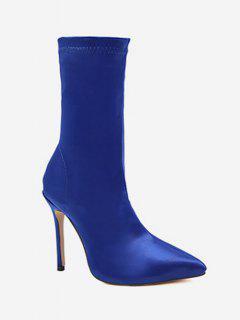 Pointed Toe High Heel Sock Boots - Cobalt Blue Eu 37