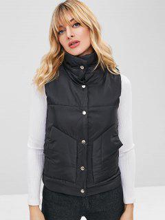Padded Snap Button Pocket Waistcoat - Black Xl