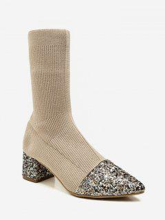 Pointed Toe Sequined Sock Mid Calf Boots - Apricot Eu 36