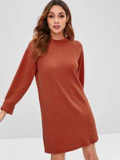 Raglan Sleeve Shift Sweater Dress - Chestnut Red L