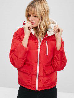 Padded Hooded Raglan Sleeve Coat - Red Xl
