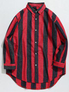 Contrast Vertical Stripe Hem Curved Shirt - Red Xl