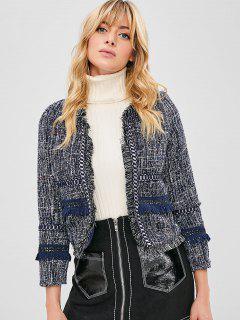 Frayed Trim Boxy Tweed Jacket - Multi Xl
