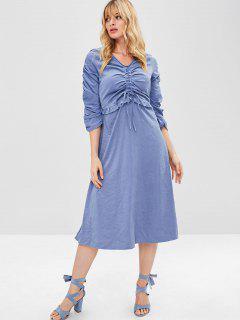 Cinched V Neck Empire Waist Dress - Blue S