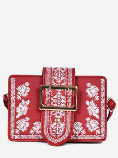 Buckle Ethnic Embroidery Crossbdoy Bag - Red Wine