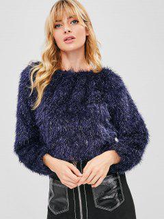 Boat Neck Glittering Fluffy Sweater - Deep Blue