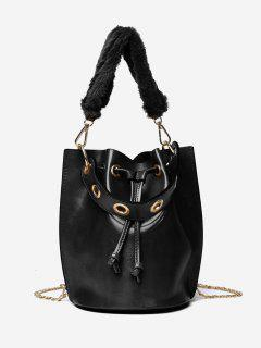 Bucket String Design Handbag - Black