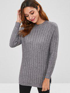 Slit Raglan Sleeve Longline Sweater - Gray