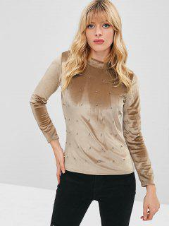 Metal Beads Long Sleeve Velvet Tee - Camel Brown