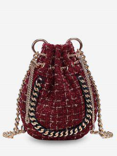 Knitted Bucket Chain Link Crossbody Bag - Red Wine