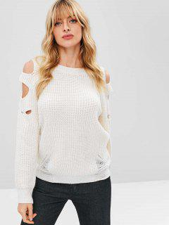 Hollow Out Cold Shoulder Ripped Sweater - Blanco Cálido