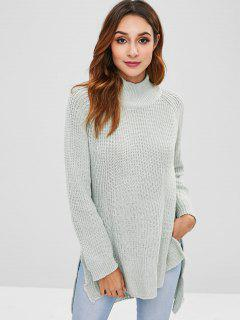 Mock Neck High Low Longline Pullover - Hellblau Lilie