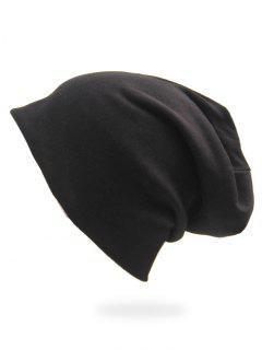 Solid Color Casual Slouchy Beanie - Black