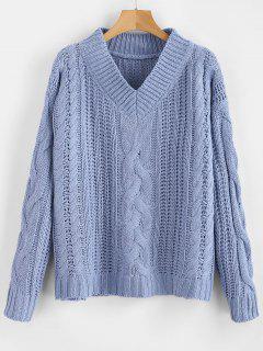 V-Ausschnitt Chunky Cable Knit Sweater - Blaugrau