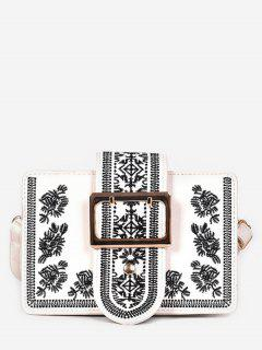 Buckle Ethnic Embroidery Crossbdoy Bag - White