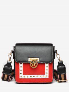 Star Rivet Pattern Crossbody Bag - Black