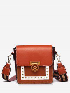 Star Rivet Pattern Crossbody Bag - Brown