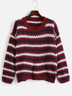 Bunter Streifen übergroßer Pullover - Multi