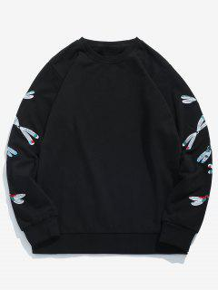 Sleeve Dragonfly Embroidered Sweatshirt - Black S