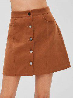 Button Front A Line Mini Skirt - Brown M
