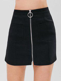 Zip Through Patch Pocket Mini Skirt - Black S