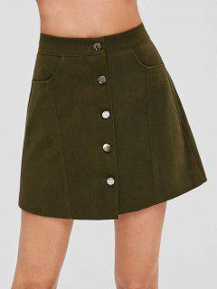 Button Front A Line Mini Skirt - Army Green M