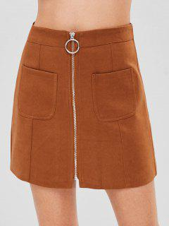 Zip Through Patch Pocket Mini Skirt - Brown Xs