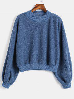Fluffy Plain Teddy Sweatshirt - Blue L