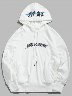 Letter Embroidered Loose Hoodie - White 2xl