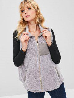 Zip Up Faux Fur Gilet - Light Gray S