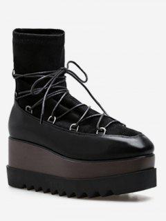 Lace Up Stretchy Sock Platform Shoes - Black Eu 35