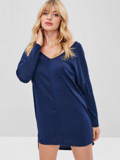 Drop Shoulder Übergroßes T-Shirt Kleid - Dunkelblau S