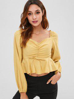 Cinched Shirred Crop Top - Goldenrod