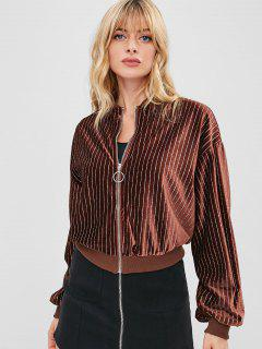 Sequined Velvet Bomber Jacket - Coffee