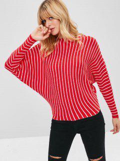 Stripe Fledermaus Ärmel Pullover - Rot