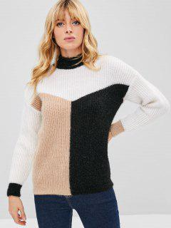 Flauschige Farbe Block Tricolor Pullover - Multi
