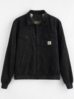 Applique Pockets Corduroy Coat - Black L