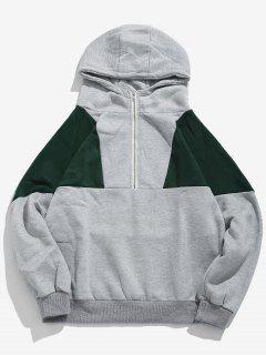Half Zip Color Block Fleece Hoodie - Dark Gray Xl