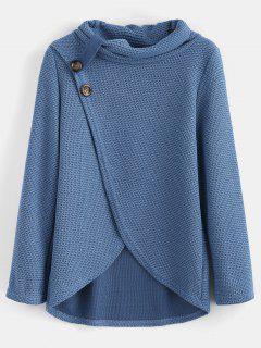 Buttoned Overlap Cowl Neck Top - Blue Koi M