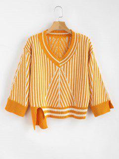 Asymmetrischer Pullover Mit V-Ausschnitt - Biene Gelb