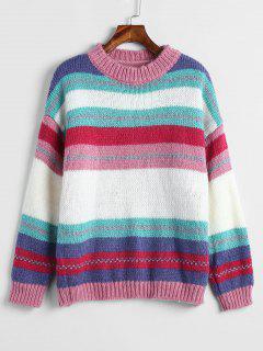Drop Schulter Streifen Pullover - Multi