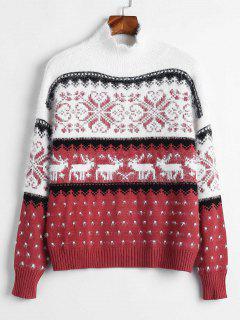Mock Neck Elch Grafik Weihnachten Pullover - Multi