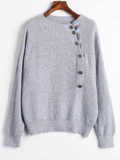 Loose Buttoned Sweater - Gray Cloud