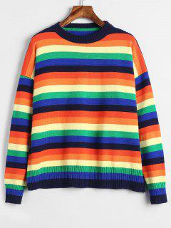 Pullover Bunte Streifen Drop Shoulder Sweater - Multi