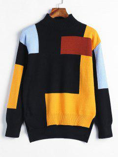 High Low Slit Color Block Sweater - Black