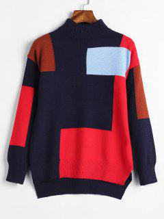 High Low Schlitzfarbener Block Sweater - Mitternacht Blau
