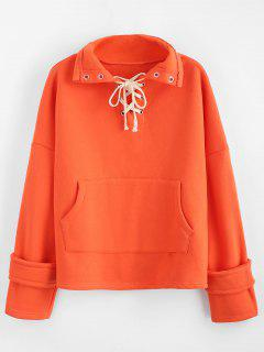 Sweat-shirt En Couleur Unie à Lacets En Laine - Orange Citrouille