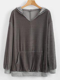 Velvet Front Pocket Hoodie - Gray L